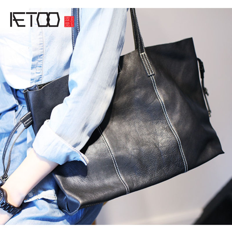 AETOO Leather Bags Ladies Real Leather Bags Women Handbags Casual Tote High Quality Large Capacity Female Fashion bolsa genuine leather bags ladies real leather bags fashion vintage women handbags casual chain shoulder bag female fashion bolsa 2017