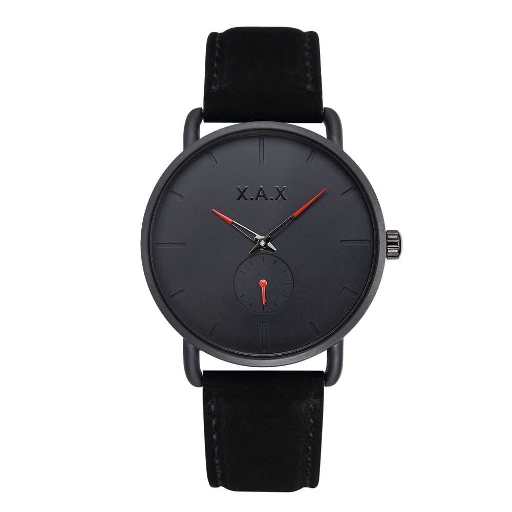 Black Minimalist Watches Men Black Suede Leather Watch Luxury Small Dial Working Watches