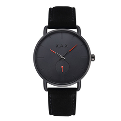 Black Minimalist Watches Men. Black Suede Leather Watch Luxury. Small Dial Working Watches