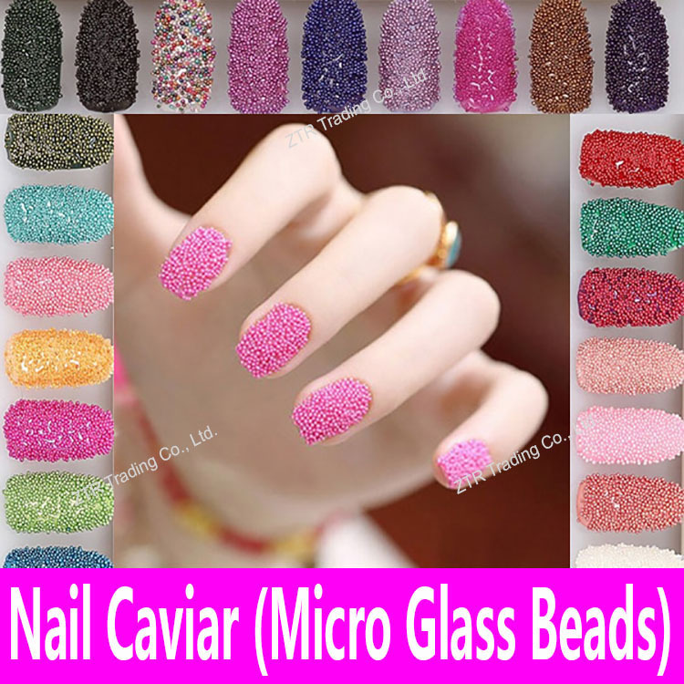1 pot nail caviar en 20 colores micro cristal Cuentas 3D Manicura ...
