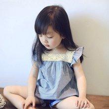 Kasual Renda Jahitan Blouse Atasan Anak-anak Musim Panas Balita Gadis T Shirt Cotton