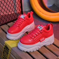 QWEDF Leather Sneakers Shoes Woman 2019 Spring Wedge Heel Chunky Sneakers For Woman Ladies Casual Shoes White/red Sneaker F2 29