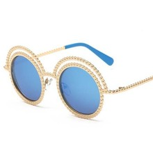 The new trend of personality European and American trend of round box sunglasses President