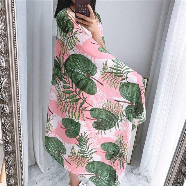 50e75cdbed Scarf Women 180 100cm Summer Pink Green Banana Leaves Print Women Scarves  Thin Travel Sunscreen