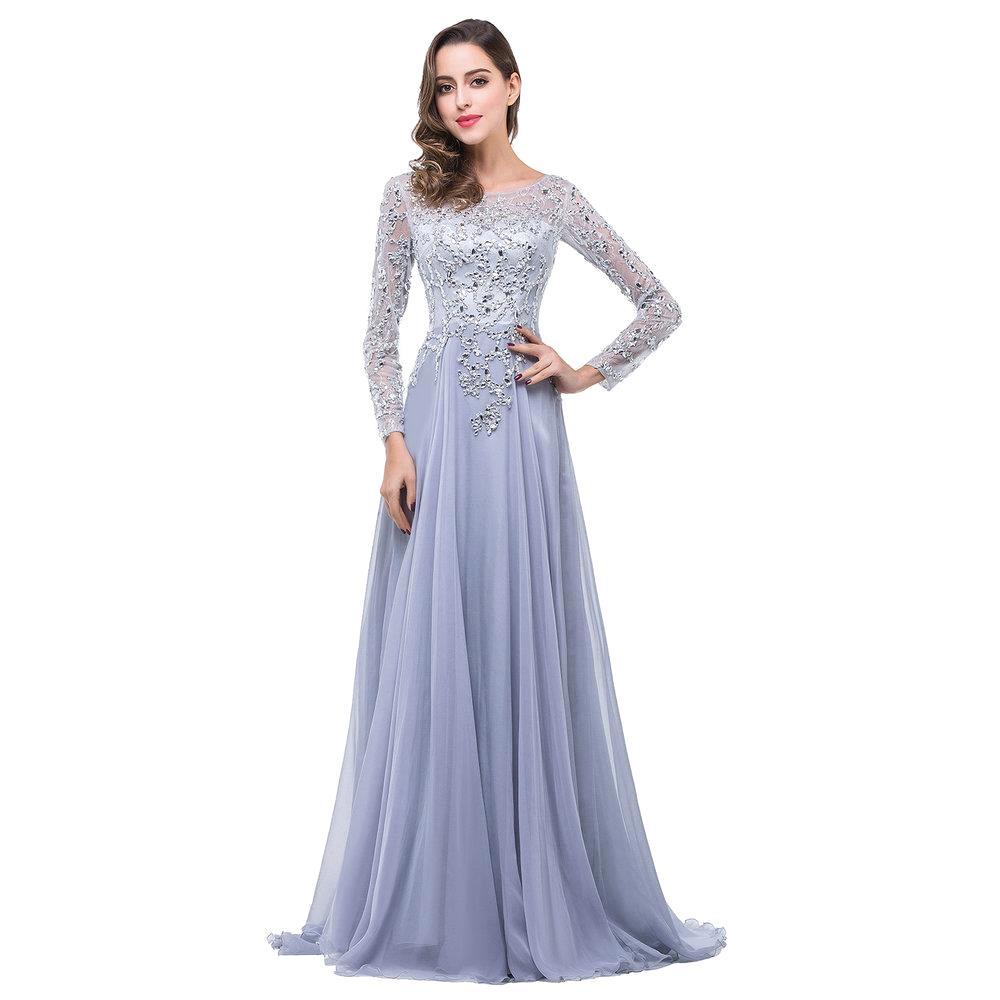 Boat Neck Long Sleeve Wedding Dresses 2016 Elegant Beaded: Aliexpress.com : Buy Elegant Boat Neck Long Sleeve Evening