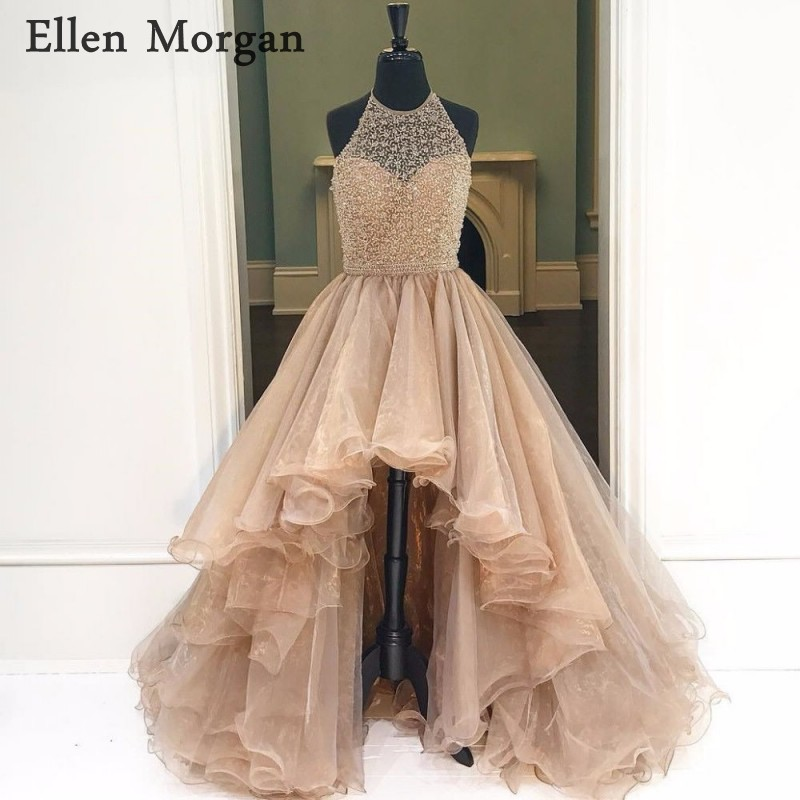 Sexy High Low Halter   Prom     Dresses   2018 for African Black Girls Organza Beaded Beautiful Long Vestido De Festa for Party Gowns