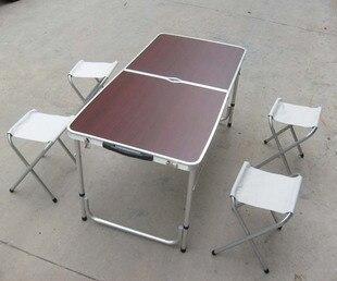 2015 Mueble muebles de Rattan mimbre plegables mesas y sillas 4 silla y mesa de Picnic llevar luz de aluminio de aleación de viajes