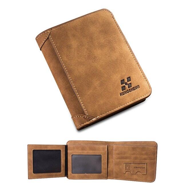 male designer wallets ho4k  Men Wallets Famous Brand PU Leather Wallet Men Card Holder With Photo  Pocket Short Vintage Design Wallet Purse For Male SIM card