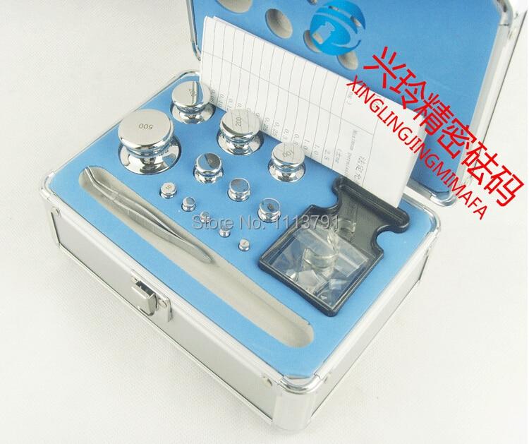 F2 Grade 24 pcs 1 mg-500g 304 En Acier Inoxydable Numérique Échelle Étalonnage Kit Set w Certificat, précision Emballé