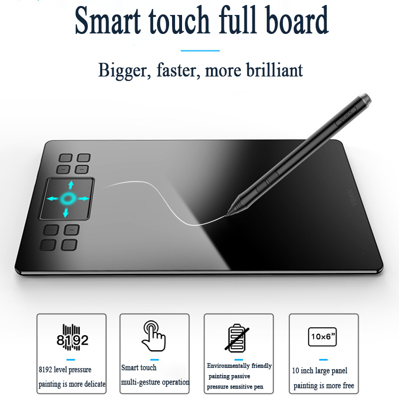 VEIKK A50 8192 niveaux graphiques tablettes planche à dessin Signature stylo numérique dessin tablette électronique Art Board 10x6 pouces
