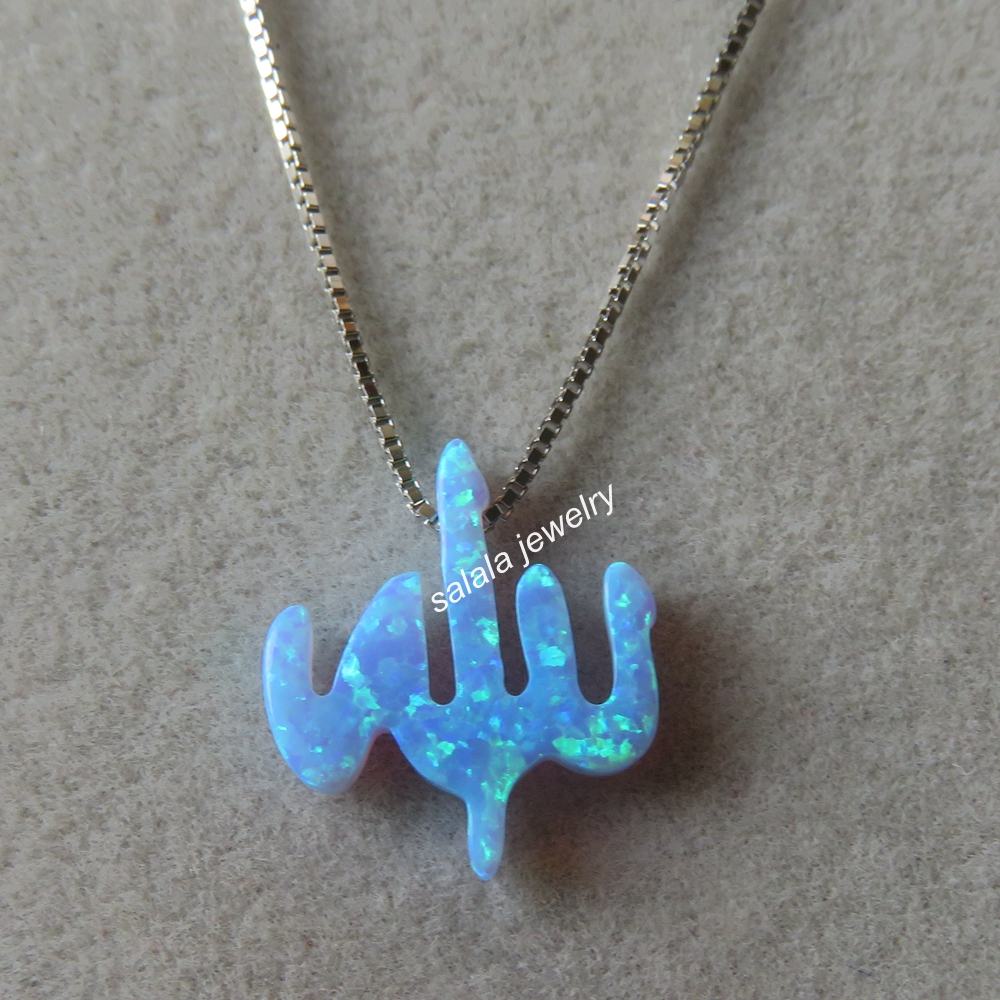 from fire necklaces sterling allah necklace in silver opal pendant light blue lot item