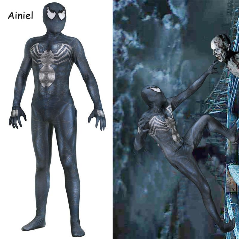Ainiel Venom Edward Brock Cosplay Costume Mask Zentai Bodysuit Jumpsuits Spider Man Superhero Halloween Spiderman for Adult Kids