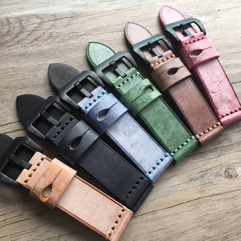 New High Quality For PAM 20MM / 22MM / 24MM /26MM Strap Retro first layer of leather Genuine Leather Watch Band Strap eache 20mm 22mm 24mm 26mm genuine leather watch band crazy horse leather strap for p watch hand made with black buckles