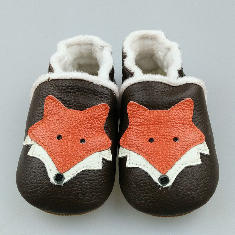 Hongteya New winter warm Genuine Leather Baby Moccasins Shoes fox style Baby Shoes Newborn first walker toddler Shoes