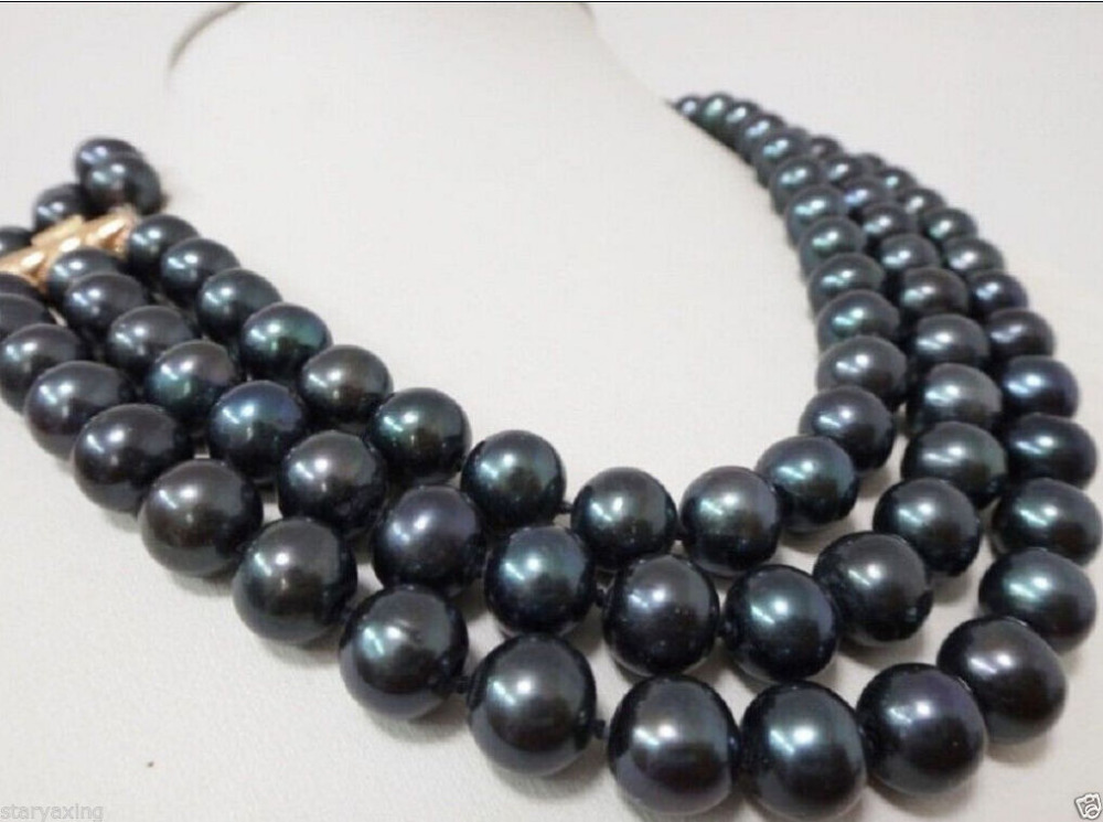 Free Shipping >>XFTN DRY Charming 3 Row 9-10MM AAA NATURAL TAHITIAN BLACK PEARL NECKLACE 16-18 P