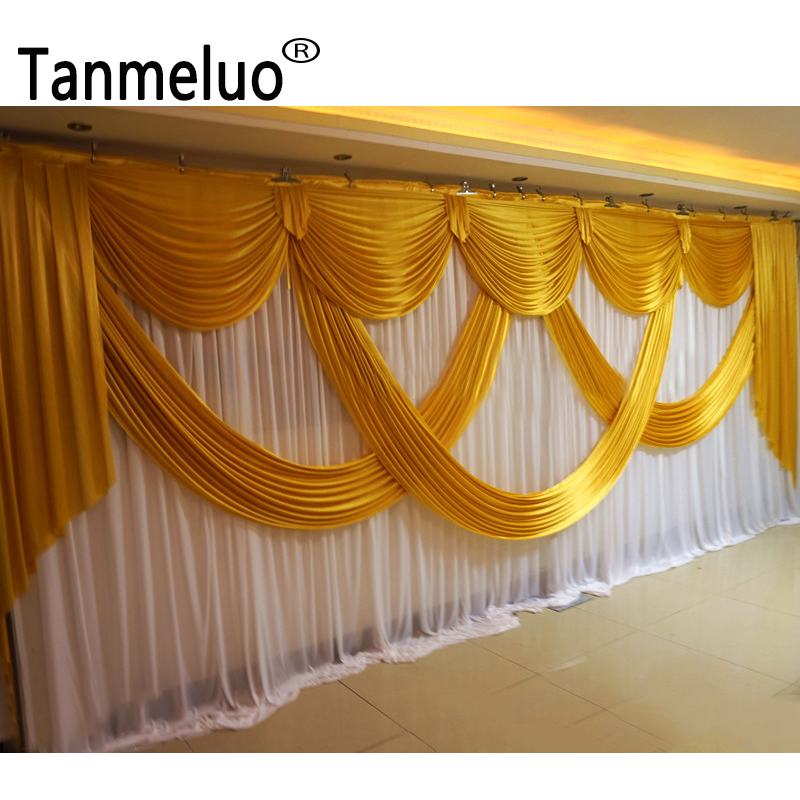 3x6M Gold and white wedding backdrop curtain ice silk pleated background drapery for event stage party decoration
