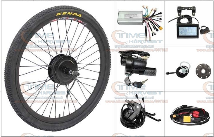 24V 500W Electric mountain bike Powerful Brushless Gearless Hub Motor 26 Rear Wheel Electric Bike Conversion Kit with LCD meter eunorau 48v500w electric bicycle rear cassette hub motor 20 26 28 rim wheel ebike motor conversion kit