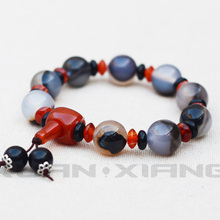 Drop Shipping Natural Agate Chalcedony Round Beads Bracelets Hand String Bracelet Bangles Gift for Woman Men's Fine Jade Jewelry