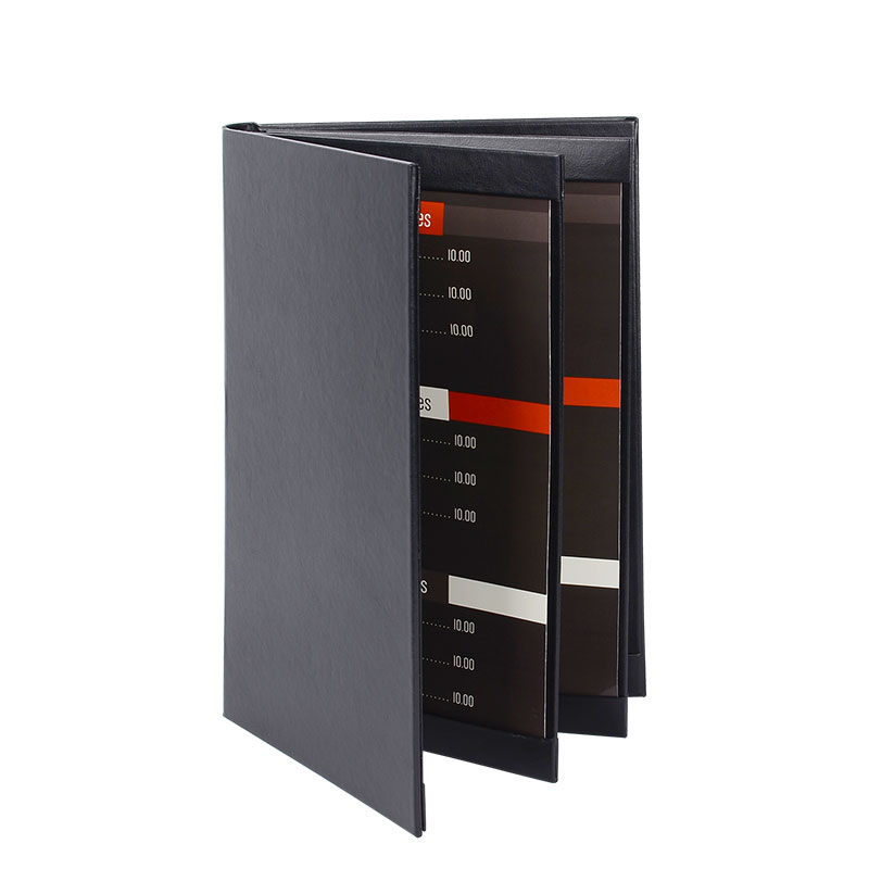 30pcs/lot Black Menu Cover European Style Menu Folders Restaurant Menu Covers Coffee Bar List Holders Support Customized pu leather menu holder restautant menu covers custom leather folders pvc page with high quality accept customized order