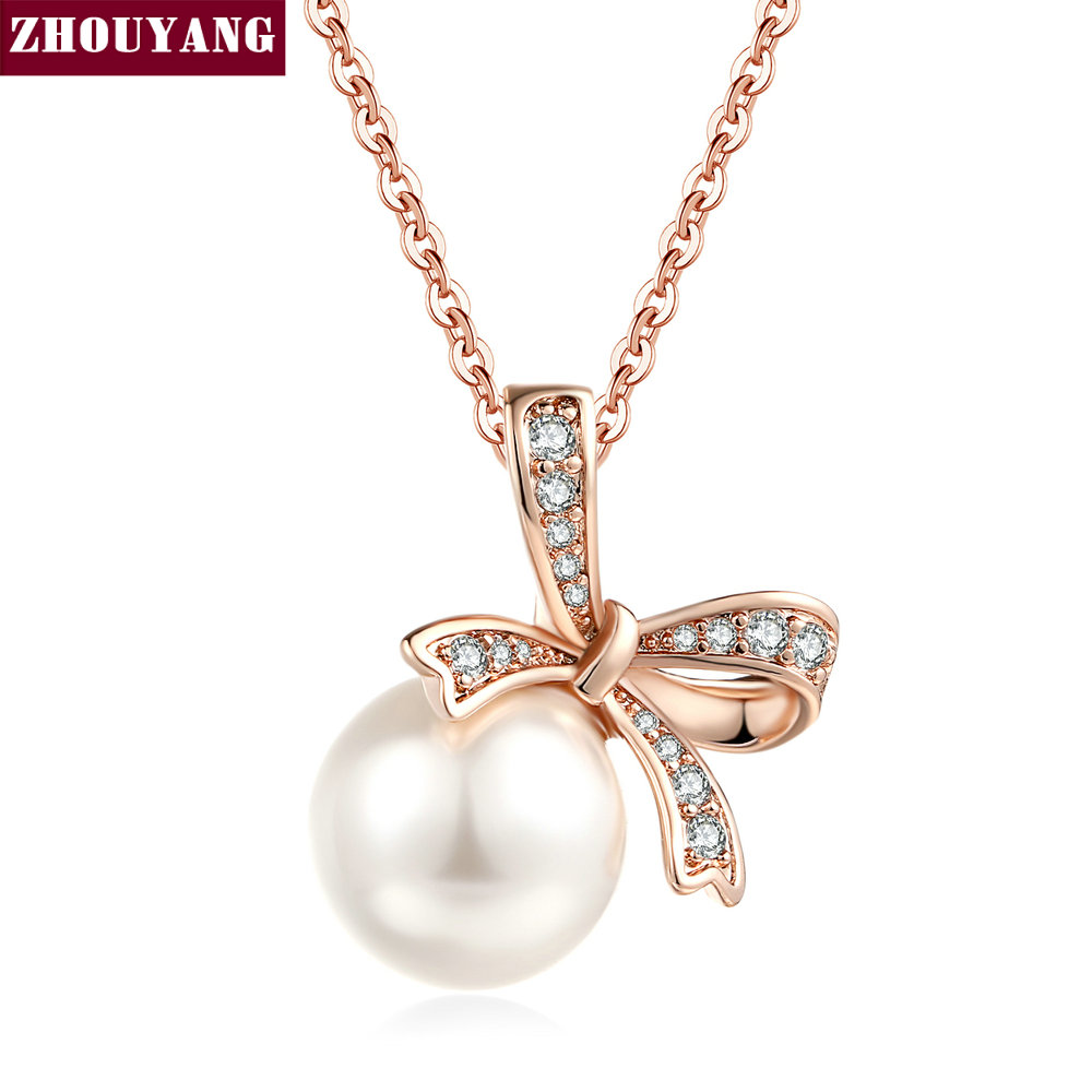 Double Fair Womens Rose Gold Plated Dark Gray Simulated Pearl Pendant Necklace Birthday Gift