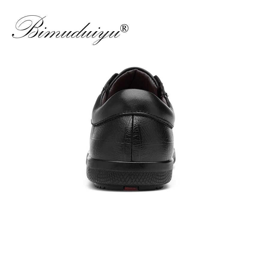 BIMUDUIYU marka hakiki deri erkek ayakkabısı dantel-up nefes yumuşak sonbahar Casual Flats ayakkabı basit siyah stil moda ayakkabı