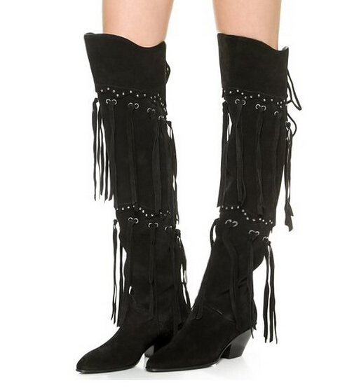 Fall winter back lace up chunky heels over the knee boots black suede mid heel tassels long boots for woman 35-42 chelsea boots