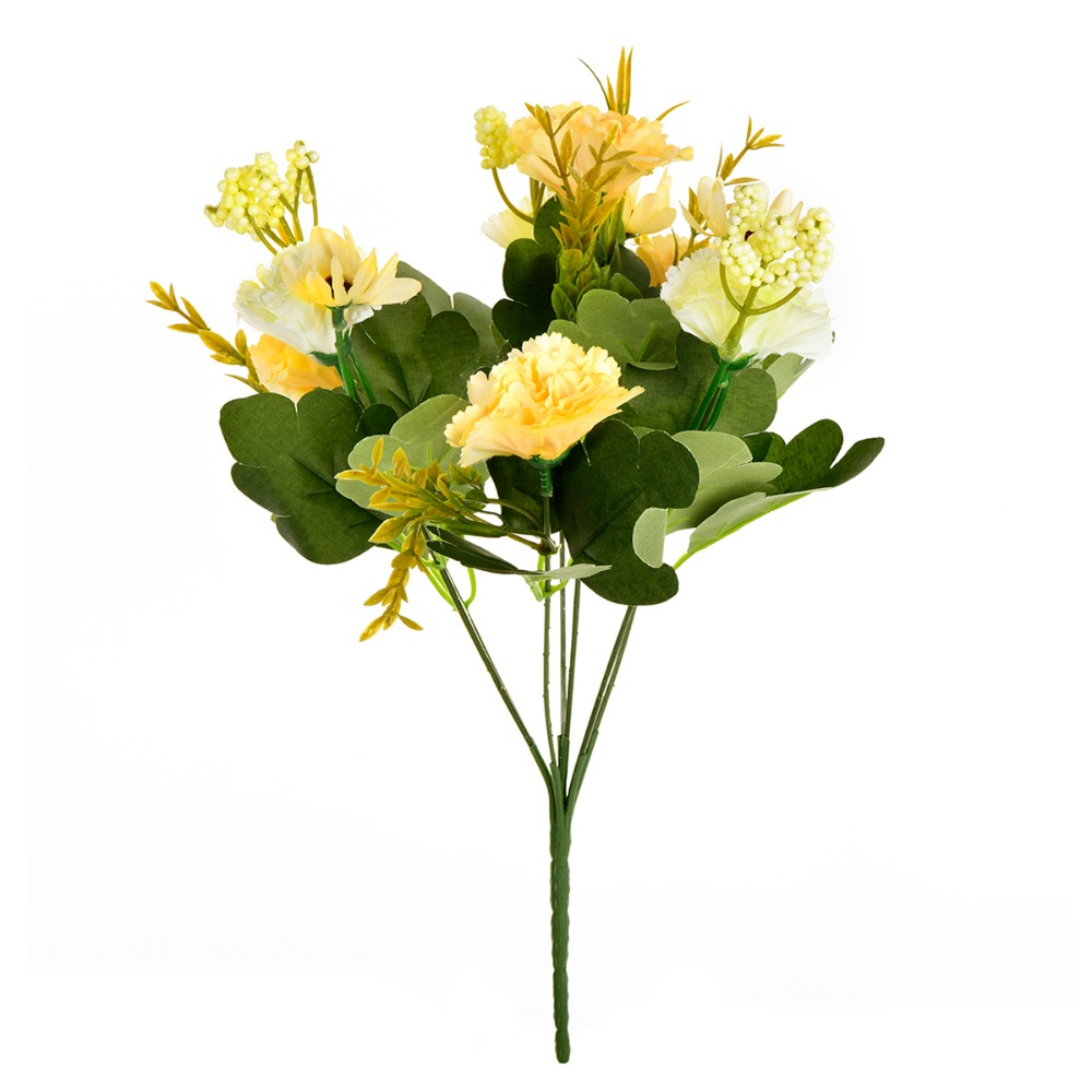 7 Headbouquet Artificial Flowers Simulation Carnation Silk Fake