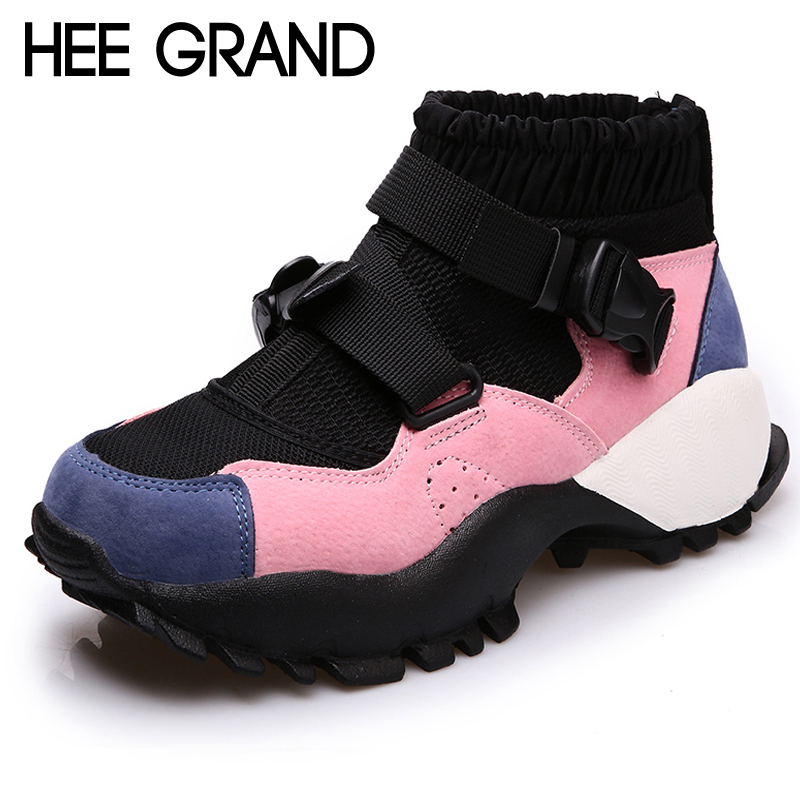 HEE GRAND Wedges Women Ankle Boots 2019 New Platform Shoes Woman Creepers Slip On Ankle Boots Fashion Casual Women Shoes XWD6910 hee grand inner increased winter ankle boots warm fringe fashion platform women snow boots shoes woman creepers 3 colors xwx6180