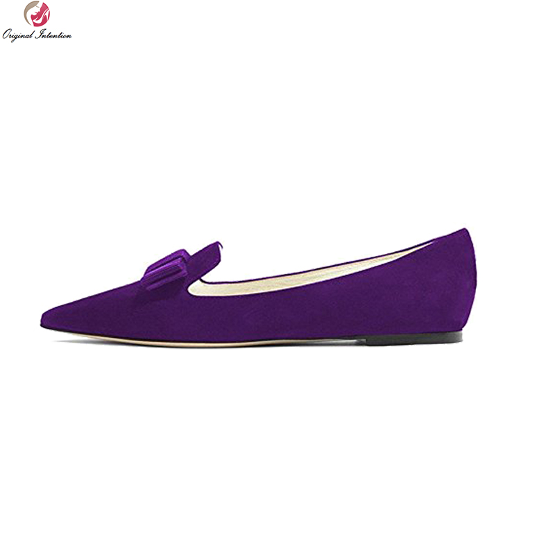 Original Intention New Elegant Women Flats Pointed Toe Flat Shoes Black Black Blue Purple Wine Red Shoes Woman Plus US Size 4-15 equte rssc4c99s5 fashionable elegant titanium steel women s ring black us size 5