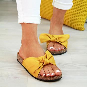 2020 buty sandały damskie dla kobiet buty na plażę Bow Slip On sandały gladiatorki damskie letnie obuwie sandały na płaskim obcasie kobieta Plus rozmiar tanie i dobre opinie C NEW S Flock Mieszkanie z Otwarta Korka Mieszkanie (≤1cm) 0-3 cm Na co dzień Slip-on Pasuje prawda na wymiar weź swój normalny rozmiar