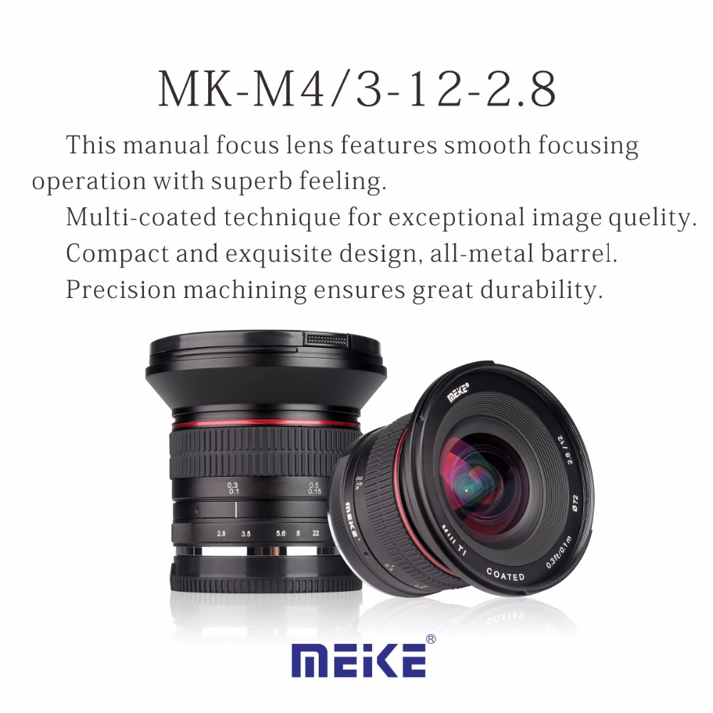 Meike 12mm f/2.8 Ultra Wide Angle Fixed Lens with Removeable Hood for Olympus/Panasonic M4/3 mount cameras meike 12mm f 2 8 wide angle fixed lens with removeable hood for panasonic olympus mirrorless camera mft m4 3 mount with aps c