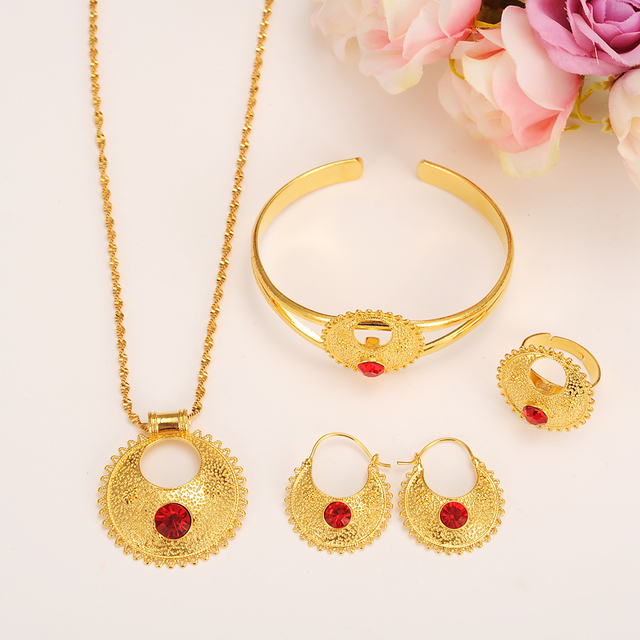 Gold set Jewelry Pendant Necklace Bangle Earrings Ring Crystal