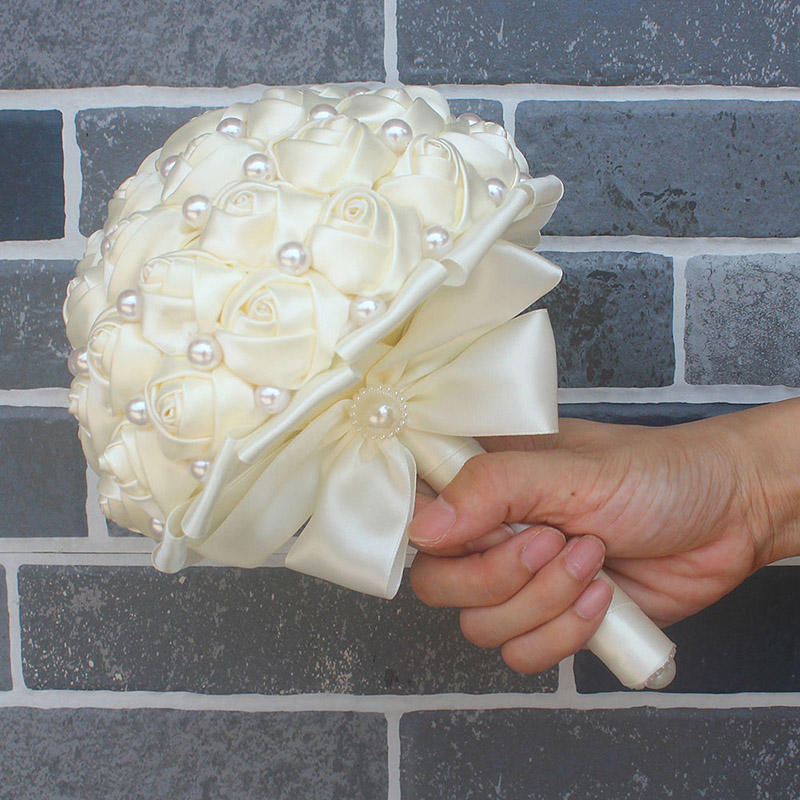 Image 5 - WifeLai A Pure Color Ivory Bridal Wedding Bouquet Cream Satin Rose Artificial Flowers Wedding Bouquet de novia On Sale W322 2bouquet de noviabridal wedding bouquetwedding bouquet -