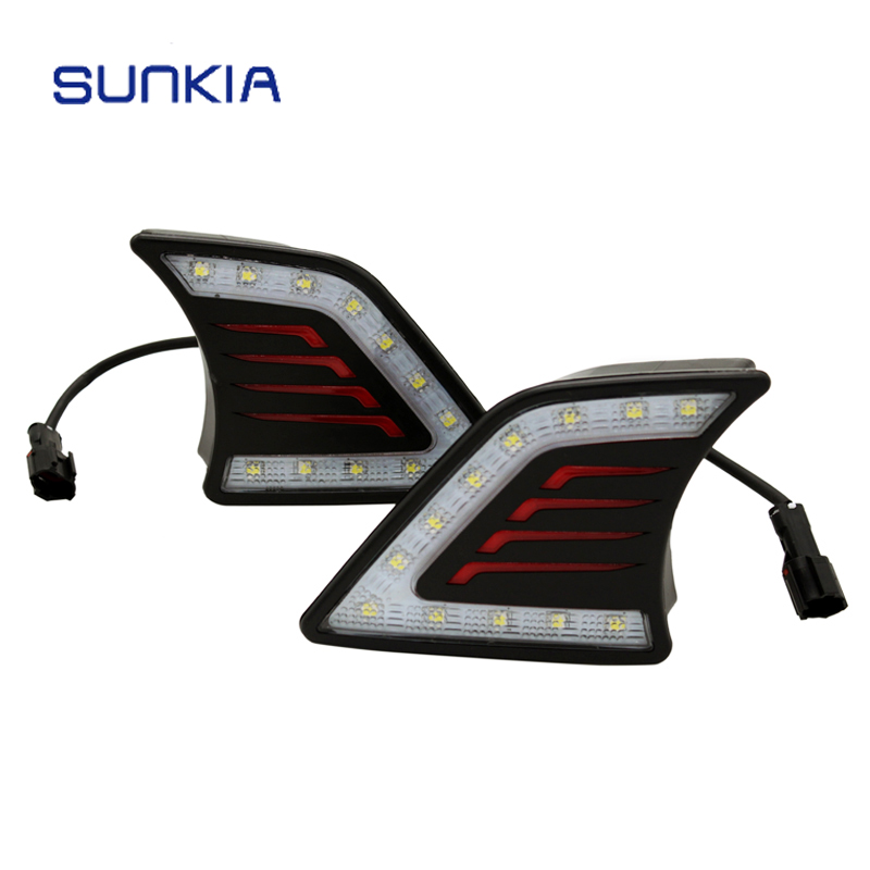 Car Styling LED DRL Daytime Running Light Super Bright Fog Lamp For Toyota Hilux Vigo 2012 2013 2014 hireno super bright led daytime running light for ford raptor f150 f 150 2010 2011 2012 2013 2014 car led drl fog lamp 2pcs