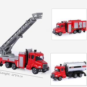 Image 2 - 1PCS Mini Toy Vehicle Model Alloy Diecast Engineering Construction Fire Truck Ambulance Transport Car Educational Children Gifts