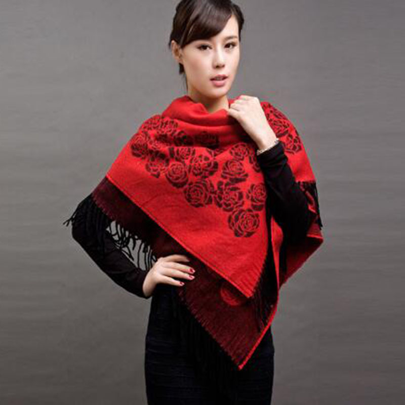 New printing poncho scarf ladies winter thick cashmere shawl scarf dual-use national wind Roses flower large square towel A190