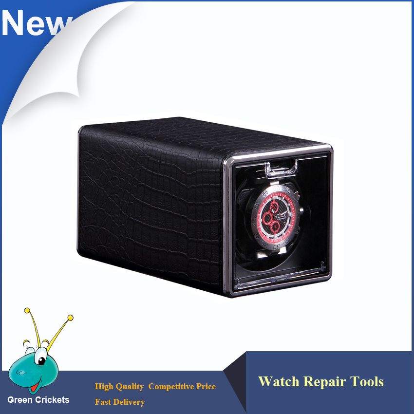 Mini Black Leather Watch Winder box Ultra quiet Motor 4 Modes Automatic Watch Winder