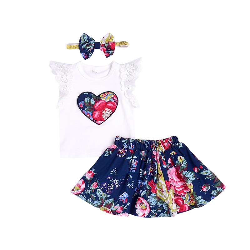 Summer Baby Girl Clothes Set 2018 New Fashion Toddler Baby Girl Heart Printed Lace T-shirt Tops+Tutu Skirt +Headband 3Pcs Outfit little j new fashion kids girl clothes set summer short sleeve love t shirt tops leather skirt 2pcs outfit children suit