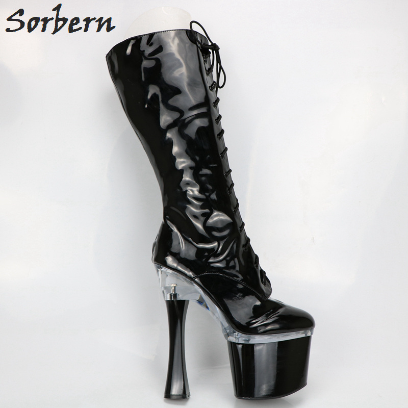Sorbern Fashion Chunky High Heel Round Toe Calf High Boots For Women Thick Platform Shoes Ladies White/Red/Black Med Boots sorbern 17cm square chunky high heel mid calf boots lace up round toe women boots chunky platform boots plus size women autumn