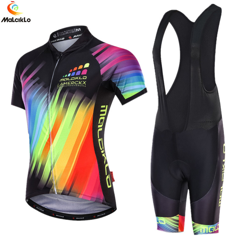 Malciklo Cycling Clothing Women Short Sleev Outdoor Sport Cycling Set Ropa Ciclismo Silicon Gel Pad Of Summer Cycling Skinsuit