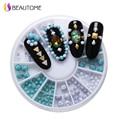 160 Pcs/box 2 Color 2/2.5/4mm Size 3D Nail Art Tips Turquoise Nail Glitter Rhinestone DIY Nail Decoration 6cm Wheel Nail Jewelry