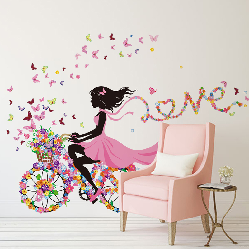 [SHIJUEHEZI] Girl Wall Sticker Flower Multi Color Bicycle Love Wall Art For  Living Room Home Decor Kids Girlu0027s Room Wall Decal In Wall Stickers From  Home ...