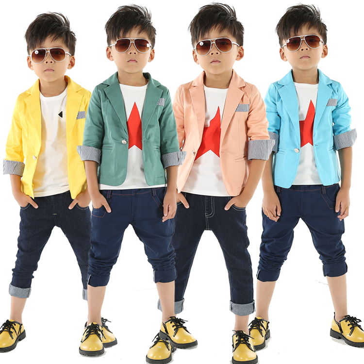 2018 Spring And Autumn Blazers For Boys Solid Color Casual