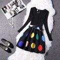 Las mujeres Vestido de Otoño 2016 Nueva Moda Delgado de Manga Larga Vestido de Tutú Delgado Respaldo A-line Imprimir Cremalleras O-cuello Breve Coreano moda