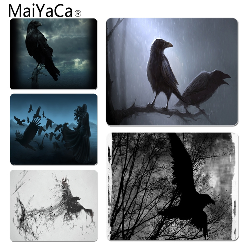 MaiYaCa Raven backgrounds Unique Desktop Pad Game Mousepad Size for 18x22x0.2cm Gaming Mousepads ...