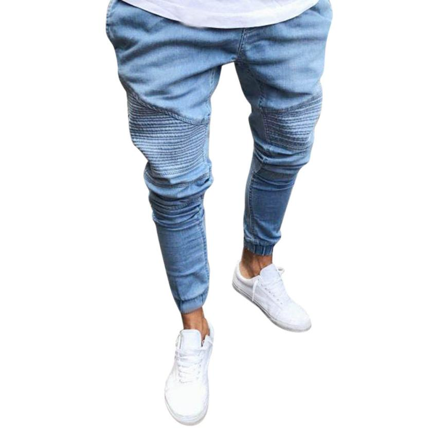 2018 Men's New Jeans Solid Col...