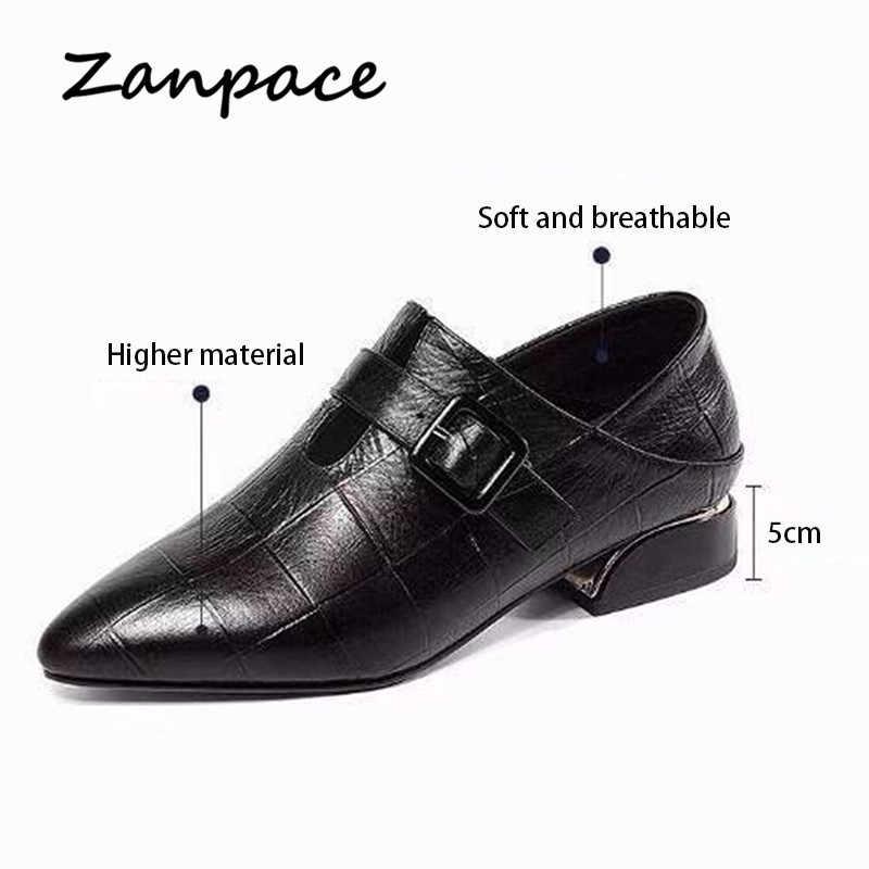 Zanpace Giày Da Phong Cách Giày Mùa Xuân Mũi Nhọn Giày Người Phụ Nữ Làm Đặc Giày Cao Gót Giày Khóa Dây Đeo Đôi Giày