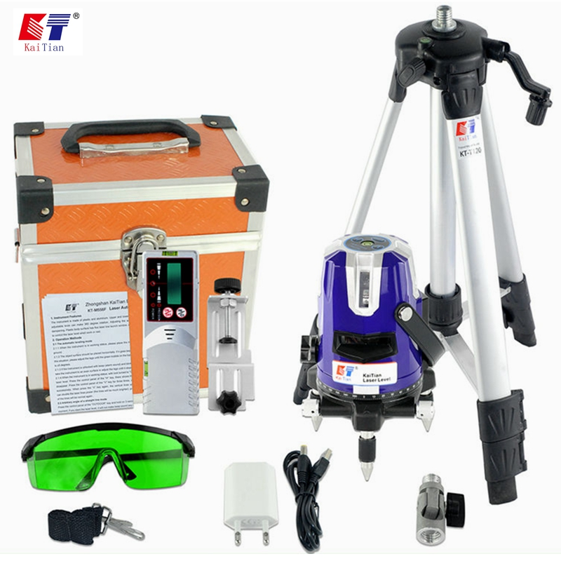 KaiTian Green Laser Level with Outdoor Tripod Tilt Function 360 Rotary Self Leveling 532nm 5 Lines Vertical Horizontal Lasers