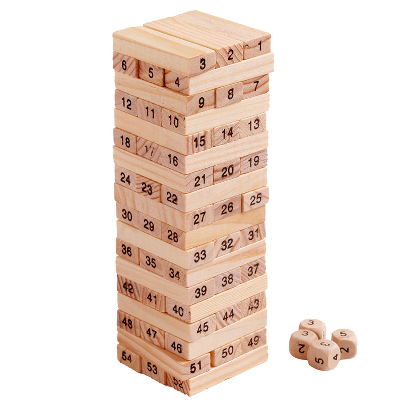 NEW Wood Building Figure Domino 54pcs Stacker Extract Jenga Game Gift 4pcs Dice Kids Early puzzle Wooden Toys Set MZ41 2017 new puzzle wooden jenga game hit toys resin miniature ho scale children kids splicing assembled toy christmas gifts mz40