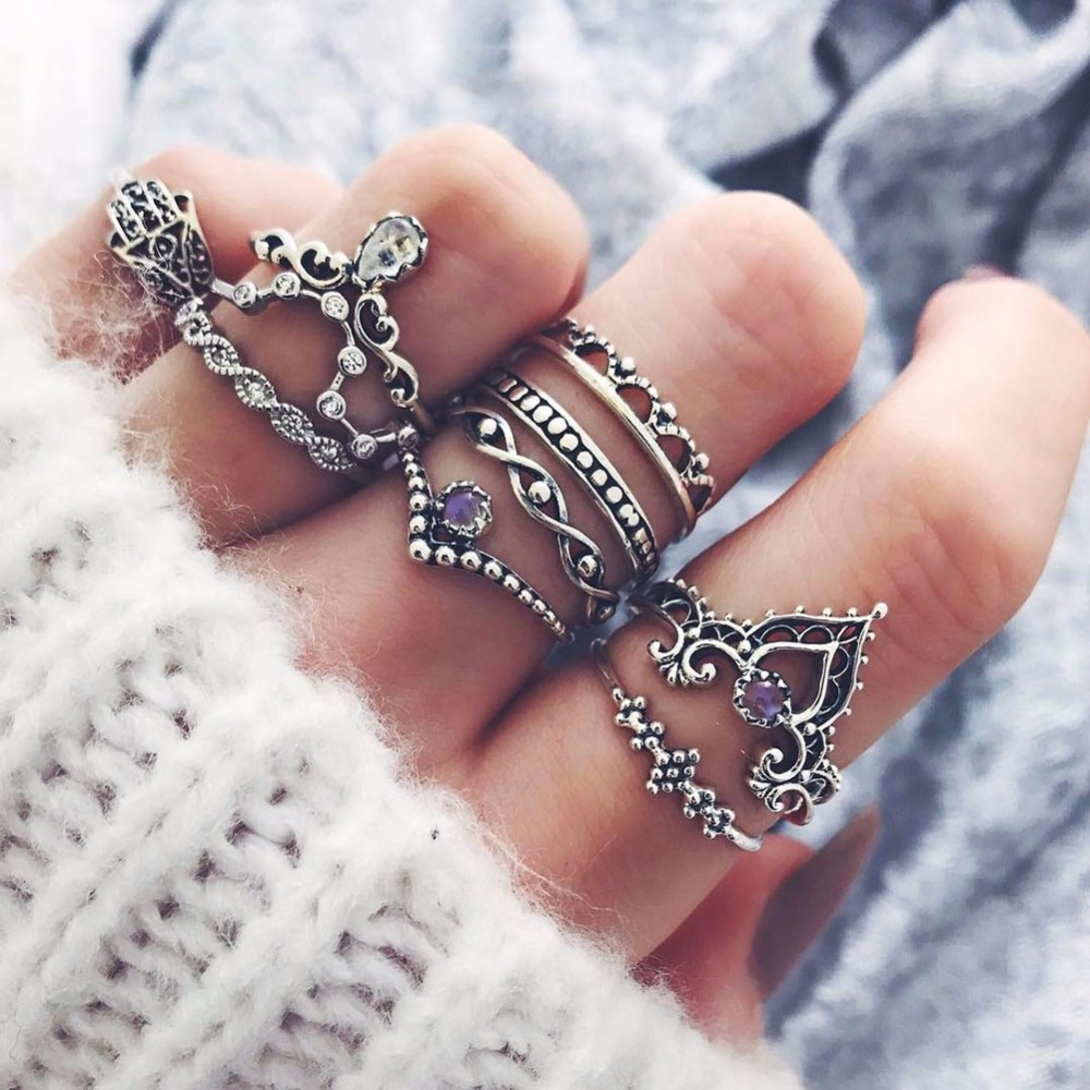 10 Pcs/Set Women Bohemian Fatima Hand Crown Hollow Caved Geometric Joint Knuckle Rings #244497